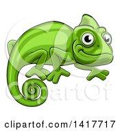 Clipart Of A Cartoon Happy Green Chameleon Lizard Royalty Free Vector Illustration by AtStockIllustration