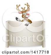 Clipart Of A Happy Rudolph Red Nosed Reindeer Waving Over A Blank Scroll Sign Royalty Free Vector Illustration