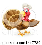 Clipart Of A Turkey Bird Chef Presenting To The Right Royalty Free Vector Illustration