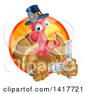 Clipart Of A Hungry Thanksgiving Turkey Bird Wearing A Pilgrim Hat And Holding Silverware Royalty Free Vector Illustration