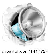 Clipart Of A 3d Megaphone Breaking Through A Wall Royalty Free Vector Illustration