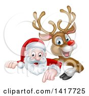 Clipart Of A Cartoon Christmas Red Nosed Reindeer And Santa Pointing Down Above A Sign Royalty Free Vector Illustration