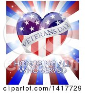 Clipart Of A Veterans Day Honoring All Who Serverd Design With An American Heart And Burst Royalty Free Vector Illustration by AtStockIllustration