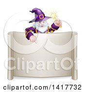 Clipart Of A Happy Old Bearded Wizard Holding A Magic Wand And Pointing Down Over A Blank Scroll Sign Royalty Free Vector Illustration