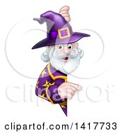 Clipart Of A Happy Old Bearded Wizard Pointing Around A Sign Royalty Free Vector Illustration