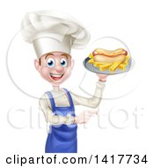 Clipart Of A Young White Male Chef Holding A Hot Dog And French Fries On A Platter And Pointing Royalty Free Vector Illustration by AtStockIllustration