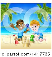 Clipart Of A Happy White And Black Boys Playing And Making Sand Castles On A Tropical Beach Royalty Free Vector Illustration by AtStockIllustration