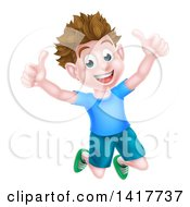 Clipart Of A Cartoon Happy Excited Brunette Caucasian Boy Jumping And Giving Two Thumbs Up Royalty Free Vector Illustration