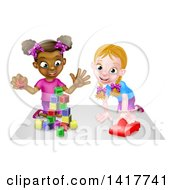 Clipart Of Cartoon Happy White And Black Girls Sitting On The Floor Painting And Playing With Blocks Royalty Free Vector Illustration