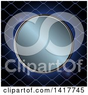 Clipart Of A Round Metallic Circle Over Metal Fencing Royalty Free Vector Illustration