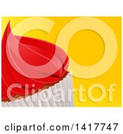 Clipart Of A Cropped Cupcake With Red Icing On A Yellow Background Royalty Free Vector Illustration