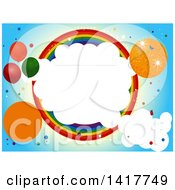 Clipart Of A Party Invitation Design With A Disco Ball Party Baloons Clouds And Rainbow Circle Royalty Free Vector Illustration
