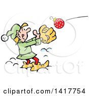 Clipart Of A Cartoon Christmas Elf Catching An Ornament Royalty Free Vector Illustration