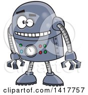Clipart Of A Cartoon Blue Robot Leaning Forward Royalty Free Vector Illustration by toonaday