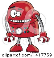 Clipart Of A Cartoon Red Robot Leaning Forward Royalty Free Vector Illustration by toonaday
