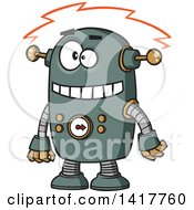 Clipart Of A Cartoon Robot Experiencing A Short Royalty Free Vector Illustration by toonaday