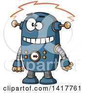 Cartoon Blue Robot Experiencing A Short