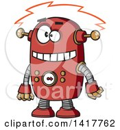 Clipart Of A Cartoon Red Robot Experiencing A Short Royalty Free Vector Illustration by toonaday