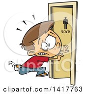 Clipart Of A Cartoon Caucasian School Boy Running To The Bathroom Royalty Free Vector Illustration by toonaday