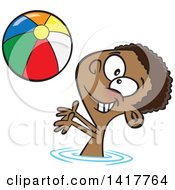 Clipart Of A Cartoon African American Boy Playing With A Beach Ball In A Swimming Pool Royalty Free Vector Illustration by Ron Leishman