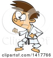 Clipart Of A Cartoon Caucasian Karate Boy In A Fighting Stance Royalty Free Vector Illustration by Ron Leishman