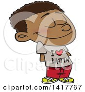 Clipart Of A Cartoon African American School Boy Wearing An I Love Math Shirt Royalty Free Vector Illustration by Ron Leishman