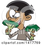 Clipart Of A Cartoon Happy Boy Eating Broccoli Royalty Free Vector Illustration by toonaday