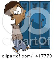 Cartoon African American School Boy Whistling And Sneaking Around Lockers