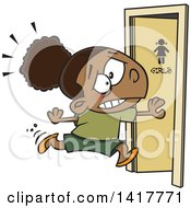 Clipart Of A Cartoon African American School Girl Running To The Restroom Royalty Free Vector Illustration