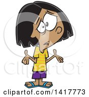 Clipart Of A Cartoon Girl Shrugging And Not Understanding Royalty Free Vector Illustration
