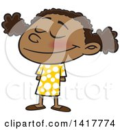 Clipart Of A Cartoon Happy African American School Girl Smiling Royalty Free Vector Illustration