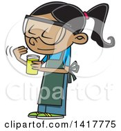 Cartoon School Girl Looking At A Smelling A Chemical In Science Class