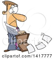 Clipart Of A Cartoon Caucasian Businessman Dropping Documents From His Briefcase Royalty Free Vector Illustration