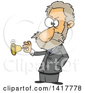 Clipart Of A Cartoon Physiologist Ivan Pavlov Ringing A Bell Royalty Free Vector Illustration