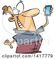 Clipart Of A Cartoon Caucasian Man Holding Up A Smart Phone And Taking A Selfie Royalty Free Vector Illustration by Ron Leishman
