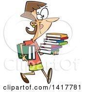 Cartoon Caucasian Woman Carrying Books