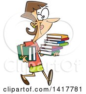 Clipart Of A Cartoon Caucasian Woman Carrying Books Royalty Free Vector Illustration