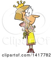 Cartoon Caucasian Woman Wearing A Crown And Holding A Plunger