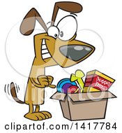 Clipart Of A Cartoon Dog Wagging His Tail And Looking In A Surprise Box Royalty Free Vector Illustration by toonaday