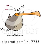 Clipart Of A Cartoon Chubby Flightless Bird Running Royalty Free Vector Illustration