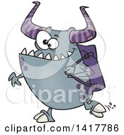 Cartoon Happy Monster Going Back To School