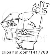 Cartoon Black And White Businessman Reading Bad News