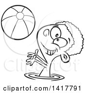 Clipart Of A Cartoon Black And White African American Boy Playing With A Beach Ball In A Swimming Pool Royalty Free Vector Illustration