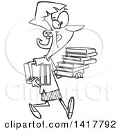 Clipart Of A Cartoon Black And White Woman Carrying Books Royalty Free Vector Illustration