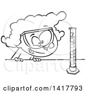 Clipart Of A Cartoon Black And White School Girl Looking At A Science Or Chemistry Cylinder Royalty Free Vector Illustration
