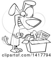 Cartoon Black And White Dog Wagging His Tail And Looking In A Surprise Box
