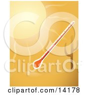 A Thermometer In The Hot Sunshine By A Cactus In The Desert Clipart Illustration