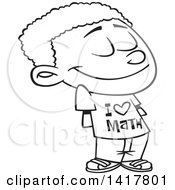 Clipart Of A Cartoon Black And White African American School Boy Wearing An I Love Math Shirt Royalty Free Vector Illustration