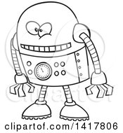 Clipart Of A Cartoon Black And White Robot Leaning Forward Royalty Free Vector Illustration by toonaday