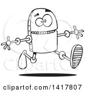 Clipart Of A Cartoon Black And White Happy Robot Running With His Arms Open Royalty Free Vector Illustration by toonaday